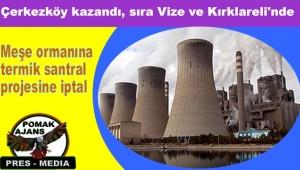 Çerkezköy kazandı, sıra Vize ve Kırklareli'nde: Meşe ormanına termik santral projesine iptal