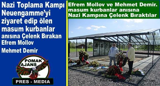Nazi Toplama Kampı Neuengamme'yi ziyaret edip ölen masum kurbanlar anısına Çelenk Bırakan. Efrem Mollov ve Mehmet Demir.